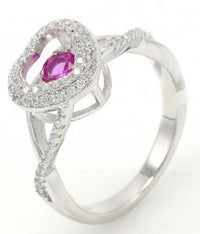 Rhodium Amethyst Heart Dancing 925 Sterling Silver Ring FL26408D