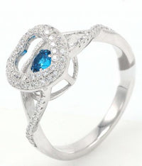 Rhodium Sapphire Heart Dancing 925 Sterling Silver Ring FL26408E