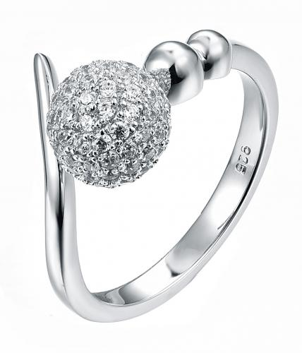Rhodium CZ Twist Ball 925 Sterling Silver Ring FL27406A