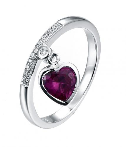 Rhodium Ruby Heart 925 Sterling Silver Ring FL27909A