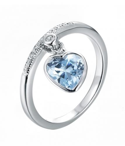 Rhodium Sapphire Heart 925 Sterling Silver Ring FL27909D
