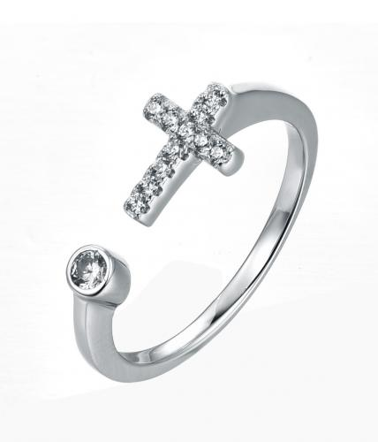 Rhodium CZ Cross 925 Sterling Silver Ring FL29802A