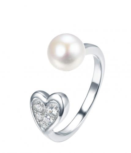 Rhodium Pearl Heart 925 Sterling Silver Ring FL30308B