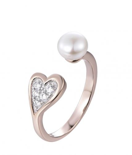 Rose Gold Pearl Heart 925 Sterling Silver Ring FL30308C