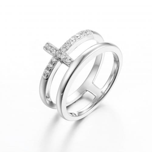 Rhodium CZ Cross 925 Sterling Silver Ring FL30405A