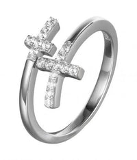 Rhodium CZ Twist Cross 925 Sterling Silver Ring FL31001A