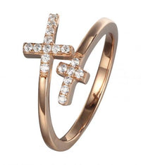 Rose Gold CZ Twist Cross 925 Sterling Silver Ring FL31001B