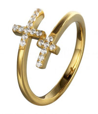 Yellow Gold CZ Twist Cross 925 Sterling Silver Ring FL31001C