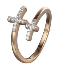 Rose Gold CZ Twist Cross 925 Sterling Silver Ring FL31001D