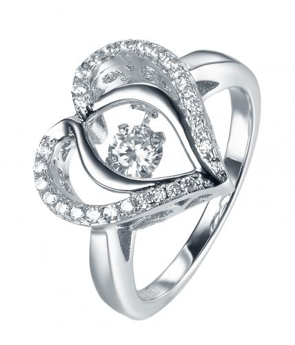 Rhodium CZ Heart Dancing 925 Sterling Silver Ring FL31203A