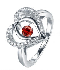 Rhodium Ruby Heart Dancing 925 Sterling Silver Ring FL31203C