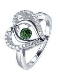 Rhodium Emerald Heart Dancing 925 Sterling Silver Ring FL31203D