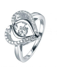 Rhodium Topaz Heart Dancing 925 Sterling Silver Ring FL31203E