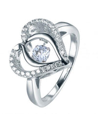 Rhodium Spinel Heart Dancing 925 Sterling Silver Ring FL31203F