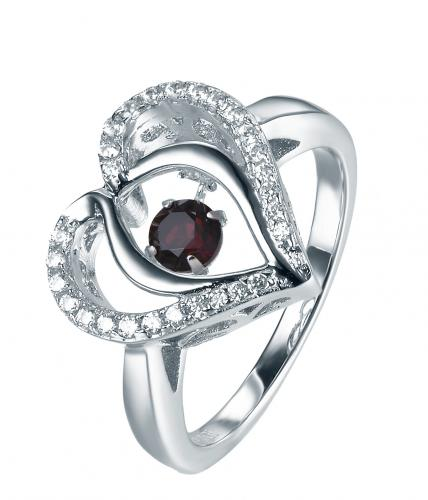 Rhodium Garnet Heart Dancing 925 Sterling Silver Ring FL31203G