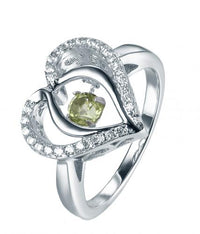 Rhodium Peridot Heart Dancing 925 Sterling Silver Ring FL31203H