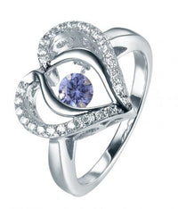 Rhodium Tanzanite Heart Dancing 925 Sterling Silver Ring FL31203K