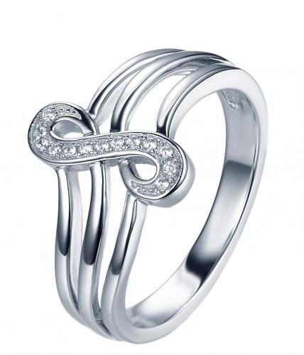 Rhodium CZ Infinity 925 Sterling Silver Ring FL33106A