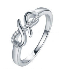 Rhodium CZ Infinity 925 Sterling Silver Ring FL33107A