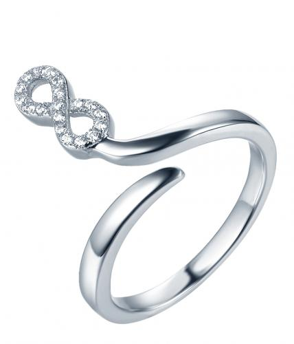 Rhodium CZ Infinity 925 Sterling Silver Ring FL35704A