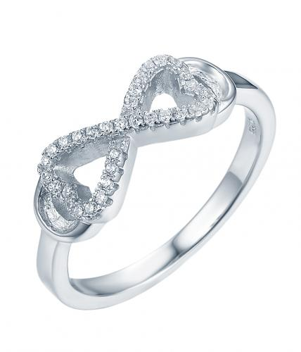 Rhodium CZ Infinity 925 Sterling Silver Ring FL35708A