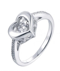 Rhodium CZ Heart Dancing 925 Sterling Silver Ring FL37508A