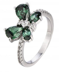 Rhodium Emerald Butterfly Animal 925 Sterling Silver Ring FL48401D