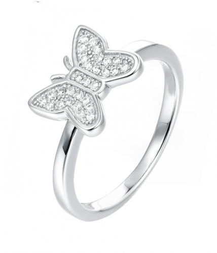 Rhodium CZ Butterfly Animal 925 Sterling Silver Ring FL51309A