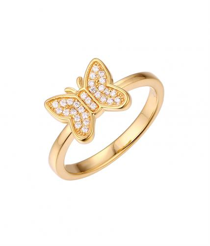 Yellow Gold CZ Butterfly Animal 925 Sterling Silver Ring FL51309E