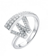Rhodium CZ Initial Letter Fashion 925 Sterling Silver Ring FL52301A