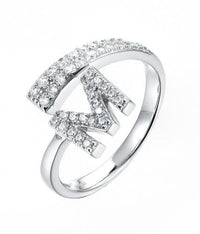Rhodium CZ Initial Letter Fashion 925 Sterling Silver Ring FL52302A