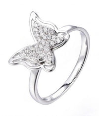 Rhodium CZ Butterfly Animal 925 Sterling Silver Ring FL52705B