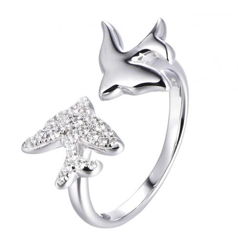 Rhodium CZ Animal 925 Sterling Silver Ring FL53504A
