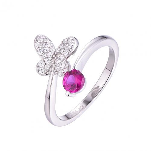 Rhodium Gemstone Twist Butterfly Animal 925 Sterling Silver Ring FL54702C