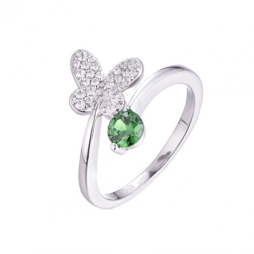 Rhodium Emerald Twist Butterfly Animal 925 Sterling Silver Ring FL54702E