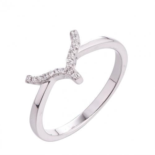 Rhodium CZ Stackable Character Stackable 925 Sterling Silver Ring FL56201A