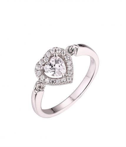 Rhodium CZ Halo Heart Engagement 925 Sterling Silver Ring FL58401A
