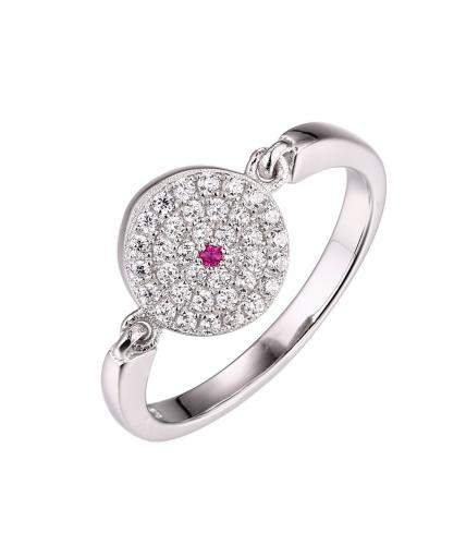 Rhodium Ruby Halo Circle Engagement 925 Sterling Silver Ring FL58404A