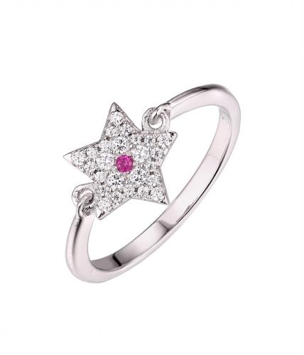 Rhodium Ruby Halo Star Engagement 925 Sterling Silver Ring FL58405A