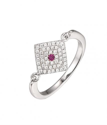 Rhodium Ruby Halo Square Engagement 925 Sterling Silver Ring FL58406A