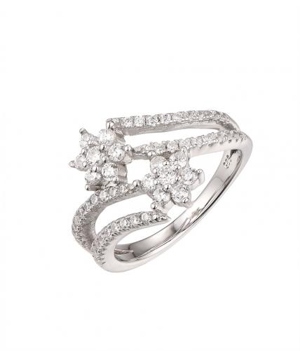 Rhodium CZ Twist Flower Fashion 925 Sterling Silver Ring FL58805A