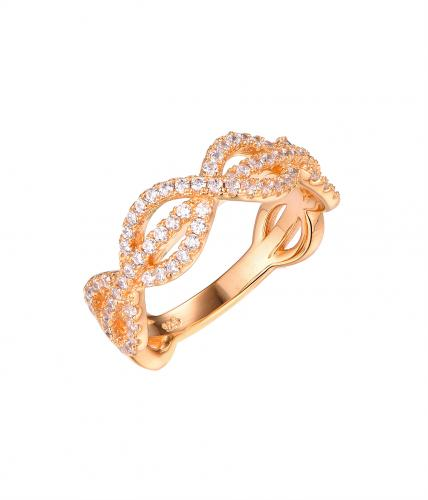 Yellow Gold CZ Infinity 925 Sterling Silver Ring FL58907C