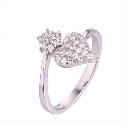 Rhodium CZ Twist Heart Fashion 925 Silver Jewelry Ring FL001C5A