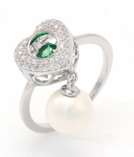 Rhodium Pearl Heart Dancing 925 Sterling Silver Ring FL003H7B