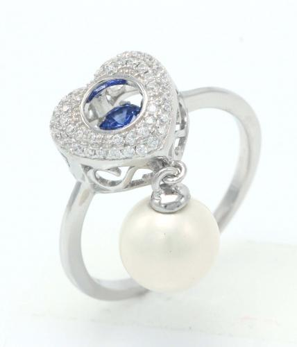 Rhodium Pearl Heart Dancing 925 Sterling Silver Ring FL003H7C