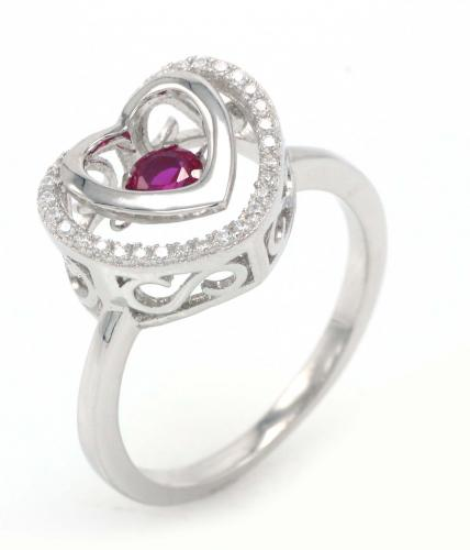 Rhodium Ruby Heart Dancing 925 Sterling Silver Ring FL004H1B