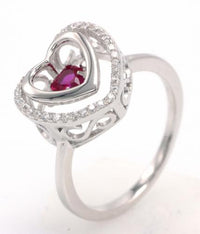Rhodium Ruby Heart Dancing 925 Sterling Silver Ring FL004H1F