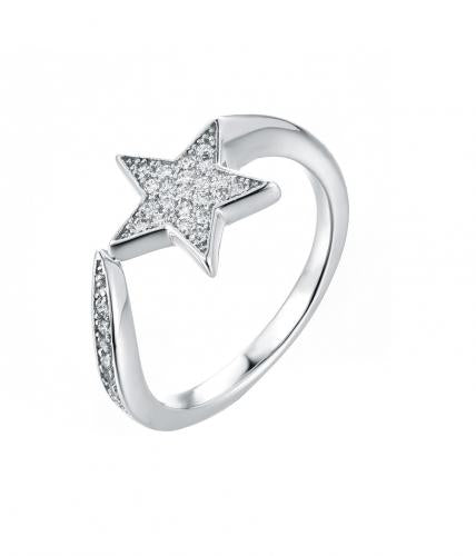 Rhodium Gemstone Twist Star Fashion 925 Sterling Silver Ring FL174Z3A