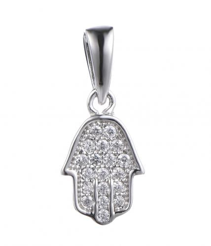 Rhodium CZ Character 925 Sterling Silver Necklace FP00001B
