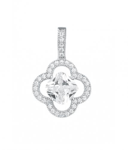 Rhodium CZ Clover Fashion 925 Sterling Silver Necklace FP00205A